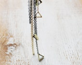 Geometric Lariat / Long Minimal Necklace / silver or gold chain