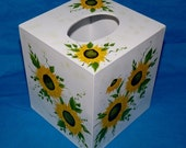 Elegant Tissue Box Cover Wood Tissue Box Holder Custom Hand Painted Sunflowers Decorative Boutique Tissue Organizer Office Housewarming Gift