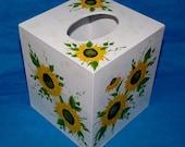 Elegant Tissue Box Cover Wood Tissue Box Holder Custom Hand Painted Sunflowers Decorative Boutique Tissue Organizer Office Housewarming Gift