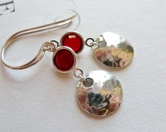 Sterling Silver Discs Ruby Red Crystal Earrings / Dangle Earrings / SimplyJoli / Red Wine / Textured Sterling