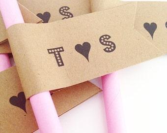 Wedding Initials Paper Straws With Flags/ wedding monogram/ wedding straws/ just married straws/ bridal shower straws/ rustic wedding