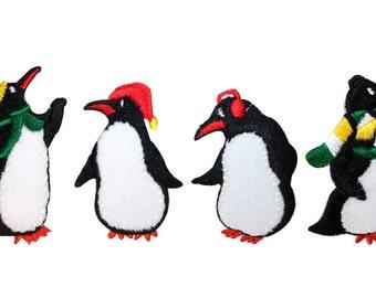ID #8219A-D Penguin Posse Winter Season Antarctic Birds Iron On Applique Patches