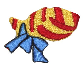 ID #8245 Lot of 3 Gift Wrapped Fish Present Embroidered Iron On Applique Patch