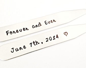 Personalized Collar Stays - Hand Stamped Wedding Anniversary Men's Custom Message Stainless Steel - Father's Day Couples Groom Gift for Him
