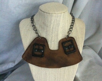 Rustic Brown Leather Bib Necklace