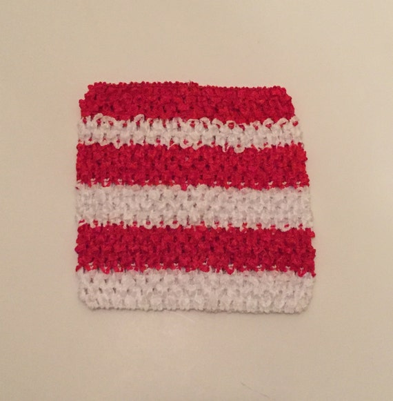 Red & White Striped 6'' Crochet Tube Top
