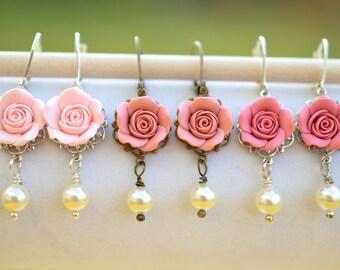 Pink Blush Rose Earrings, Dusty Pink Rose Earrings, Pink Shade Rose Earrings