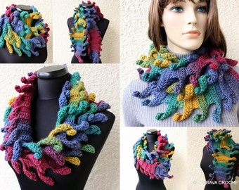 Crochet Scarf PATTERN, Multicolor Scarf Carnival, DIY Easy Scarf, Chunky Crochet Pattern, Instant Download PDF Pattern #156, Lyubava Crochet