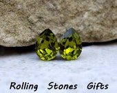Olivine 8x6mm Swarovski Pear Rhinestone Stud Earrings-Crystal Pear Studs-Olive Green Swarovski-Handmade Earrings-Swarovski Earrings