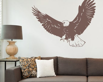 Realistic Eagle Wall Decal - Eagle Decal, American Bald Eagle, Eagle Wall Art, Nature Wall Decal, Animal Wall Sticker, Flying Eagle Art