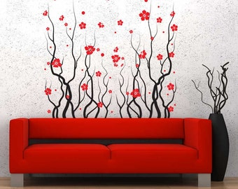 Red Blossom Flowers Wall Decal Sticker -Flower Wall Sticker, Flower Blossom Decal, Climbing Vines, Nature Wall Decal, Living Room Wall Decal