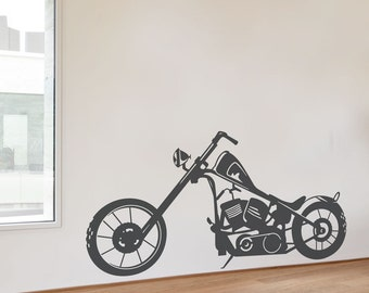 life size vintage retro motorcycle vinyl wall art motorcycle. Black Bedroom Furniture Sets. Home Design Ideas