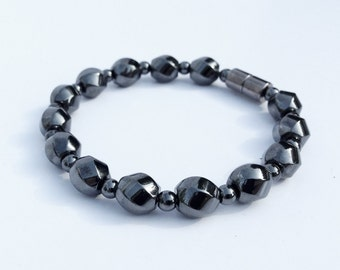 Magnetic hematite bracelet - swirly stone beads - custom sized