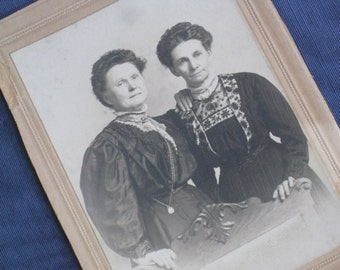 Solidarity Sisters - Antique Photo of Two Victorian Women, Sisters - 1890s Cabinet Card - Vintage Paper Ephemera
