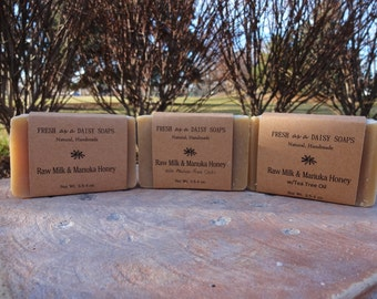 Raw Milk & Manuka Honey with or without Oats, Handmade Soap, Gluten-Free, Cold Process Soap, 100% Natural