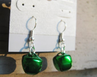 Emerald Green Holiday Jingle Bell Dangle Earrings with Silver Findings