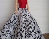 RESERVE for G. Love ONLY  Red Satin and White & Black Taffeta Gown for Barbie