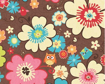 Happy Flappers  -  1 Yard Cut - Novelty Fabric  - Main Brown - Cotton Fabric - Riley Blake Designs - Owl Fabric