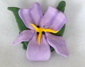 Polymer Clay Lavender Orchid Pin/Brooch - Novelty Jewelry