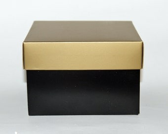 """Beautiful 6""""x6""""x4"""" Black and Gold Gift Box Option for Razors Sets and other small items."""