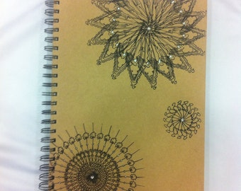 Hand screen printed A4 notebook spiral