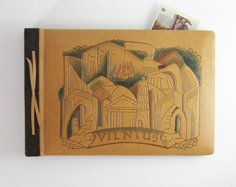 Vintage Photograph Album - Tooled Leather Cover - Vilnius Lithuania Souvenir Book - Leather Scrapbook - Leather Bound Book - Grey Card Stock