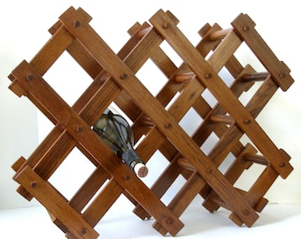 GOODWOOD Oiled Danish Teak WINE RACK Collapsible Design Mid Century Danish Modern Excellent Condition
