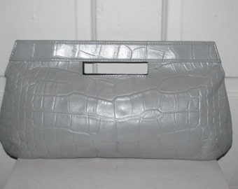 CUT OUT CLUTCH // Over Sized Large Gray Croc Embossed Leather Purse Clutch Tote Handle Simple Modern Chic 90's Festival