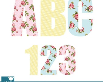 Shabby Chic Digital Alphabet - Digital Clipart / Scrapbooking - card design, invitations, stickers, web design - INSTANT DOWNLOAD