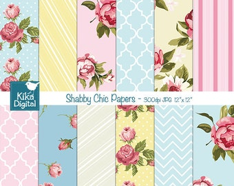 Shabby Chic Digital Papers - Scrapbooking, card design, invitations, stickers, background,  paper crafts, web design - INSTANT DOWNLOAD
