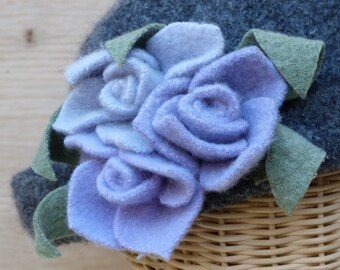 Women's grey  felted wool hat with lavender felted flowers
