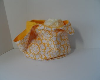 Japanese knot bag in yellow and white Farmers Market print great for crochet projects