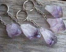 Raw Amethyst KeyChain, Amethyst Key Chain, Amethyst Crystal Point, Natural Quartz, Purple Mineral, Crown Chakra, Metaphysical