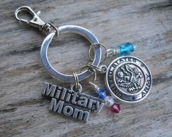 Army Mom Wife Brat Keychain, Army Wife Zipper Pull, Personalized Army Mom Keychain, Army Brat Keychain, Military Family Accessory