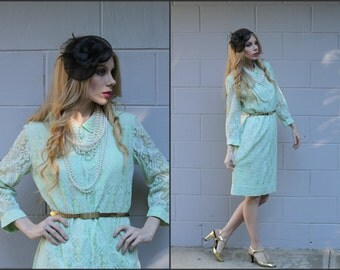 Vtg Vintage 60s Lace Wiggle Dress Pencil Mad Men style XS S M