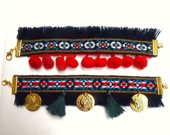 Bracelets made of ethnic lace, POMPOMS, TASSELS and COINS, boho style, contemporary jewelry, ootd, ooak, gift for her, folklore, traditional