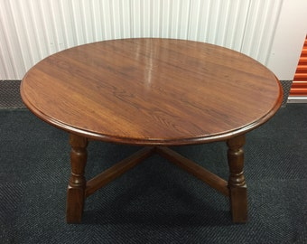 "59"" Antique Style Solid Oak Round Country Dining Table"