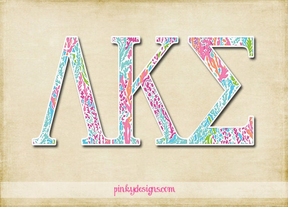 Lilly pulitzer inspired greek letters by pinkydesign on etsy for Lilly pulitzer sorority letters