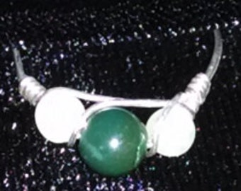 Moss Agate 6mm and Prenite 4mm beadswire wrapped in 22 gauge sterling silver wire.