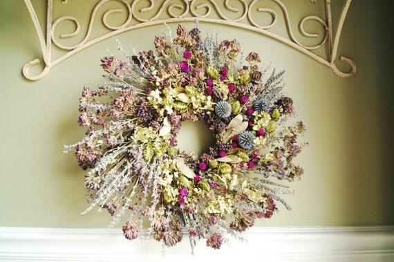 Wreaths, Dried Flowers,18 Inch, Hydrangea, Hops, Herbs