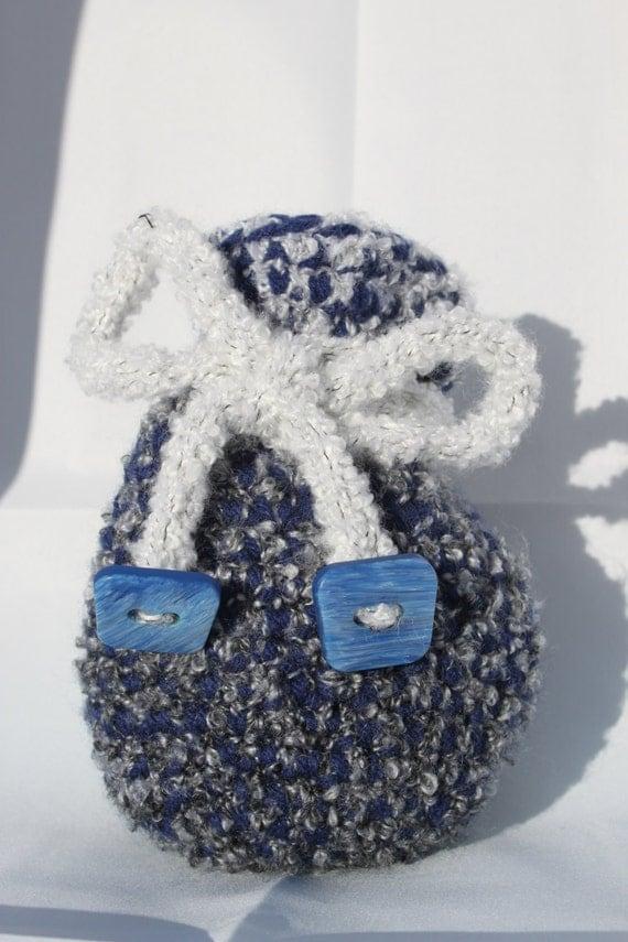 Crocheted drawstring dicebag dice bag blue grey gray white