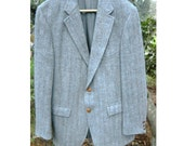 Vintage Mid Century 1970s Scottish Harris Tweed Wool Soft Gray Sports Coat Suit Blazer Nordstroms Classic Mens Jacket 40-42 Leather Button