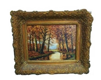 Antique 1880s Impressionist Landscape Signed HMD Victorian to Arts & Crafts Plein Air Oil on Canvas Autumn Trees, River, Stream Oil Painting