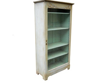 Vintage Rare French Country Farmhouse Antique 1870s Wainscot Beadboard Painted Aqua Pine Curio Cupboard French Prairie Cottage Chic Cabinet