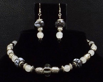 Repurposed Black and White Glass Necklace Earring Set