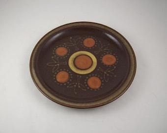 Mid Century Aztec Stoneware Salad Plate Chocolate Brown Orange Mod Japan