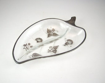 Georges Briard Glass Strawberry Shaped Candy Dish, Mid Century Modern