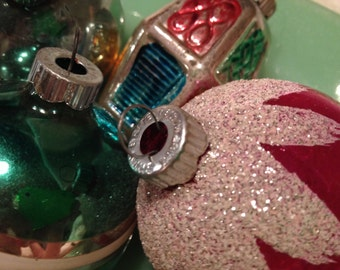 Shiny Brite Vintage Ornaments in Pink Green and Blue