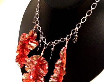 Copper Leaf and Silver Necklace
