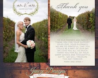Printable Wedding Thank You Card - Wedding Thanks - Photo Card - Thank you Card